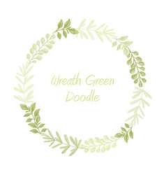 green hand drawn leaves wreath vector image