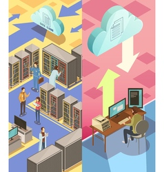 Information Center Isometric Banners vector image vector image
