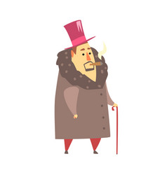 millionaire rich man in coat and top hat smoking vector image vector image
