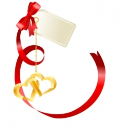 red bow with label vector image vector image