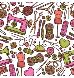 Seamless Color Pattern With Accessories For Sewing vector image vector image
