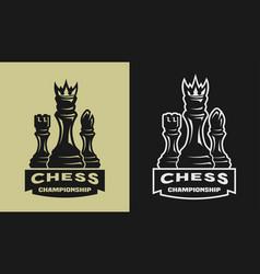 chess game championship emblem logo vector image vector image