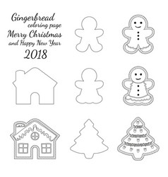 ginger bread cookie icon logo black and white set vector image