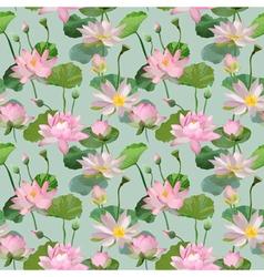 Vintage Waterlily Flowers Seamless Pattern vector image vector image