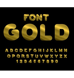 Gold font ABC of Gold Precious metal alphabet vector image