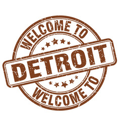 welcome to detroit brown round vintage stamp vector image