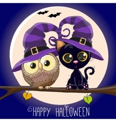 Cat and Owl vector image vector image