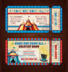 Circus retro tickets banners set vector