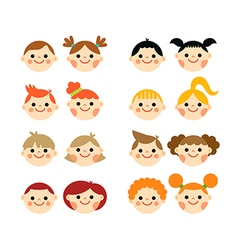 Flat cartoon children faces collection vector image