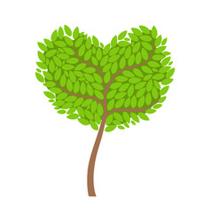 green tree with a heart shaped crown element of a vector image