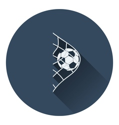 Icon of football ball in gate net vector image vector image