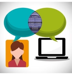 laptop girl message email inter technology vector image
