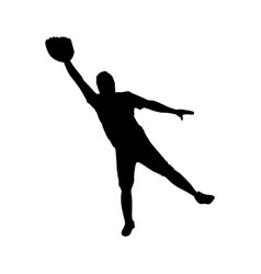 Monochrome silhouette with baseball catcher vector