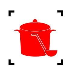pan with steam sign red icon inside black vector image