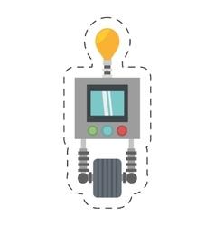 technology robot bulb light display with wheel vector image