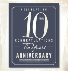 10 years anniversary background vector image