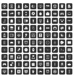100 app icons set black vector