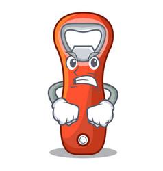 Angry plastic bottle opener isolated on cartoon vector