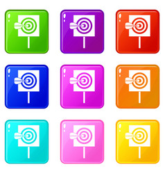 arrow in the center of target set 9 vector image