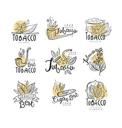 Best tobacco logo design set emblems can be used vector