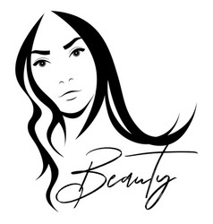 Black and white stencil with a beautiful woman vector