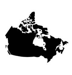 Black silhouette country borders map of canada on vector