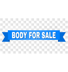 Blue ribbon with body for sale caption vector