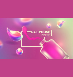 Bottle pink nail polish product poster vector