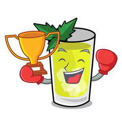 Boxing winner mint julep mascot cartoon vector
