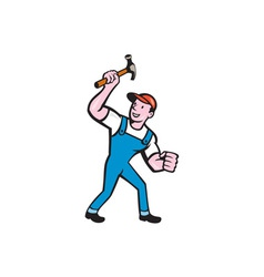 Builder Carpenter Holding Hammer Cartoon vector