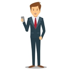 business man with gadget vector image