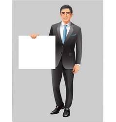 Businessman showing paper banner vector