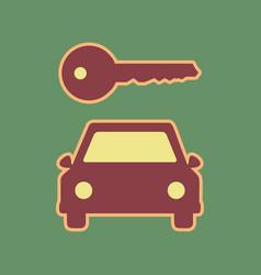 Car key simplistic sign cordovan icon and vector