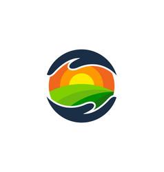 Care farm logo icon design vector