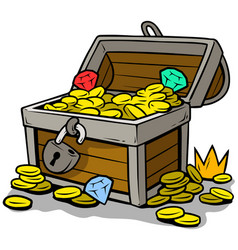 Cartoon open treasure chest with gold coins vector