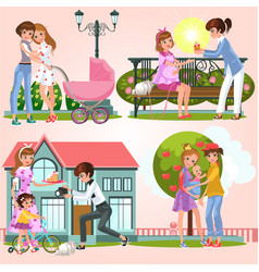 Cartoon set of happy lesbian couples walking vector