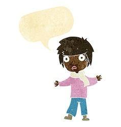 Cartoon unhappy boy with speech bubble vector