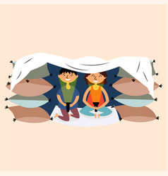 Children made a pillow and blanket fortress vector