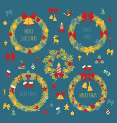 christmas wreath decoration elements set for vector image