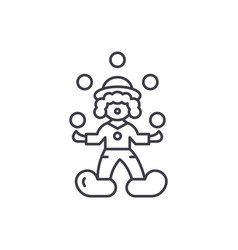 clown juggler line icon concept clown juggler vector image