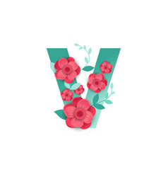 Color letter v with beautiful flowers vector