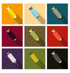 Colored flat design medical plastic syringe vector