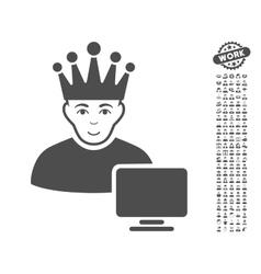 Computer Moderator Icon With Bonus vector