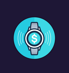 Contactless payment with smart watch icon vector