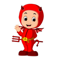 Cute devil kids cartoon vector
