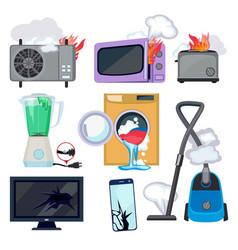 damaged appliance broken household equipment fire vector image