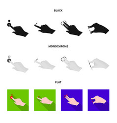 design of touchscreen and hand symbol set vector image