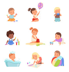 different kids play on a vector image