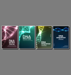 Dna poster set genetic molecule abstract vector