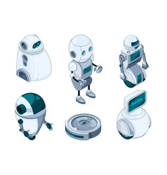 domestic robots assistant various help machines vector image